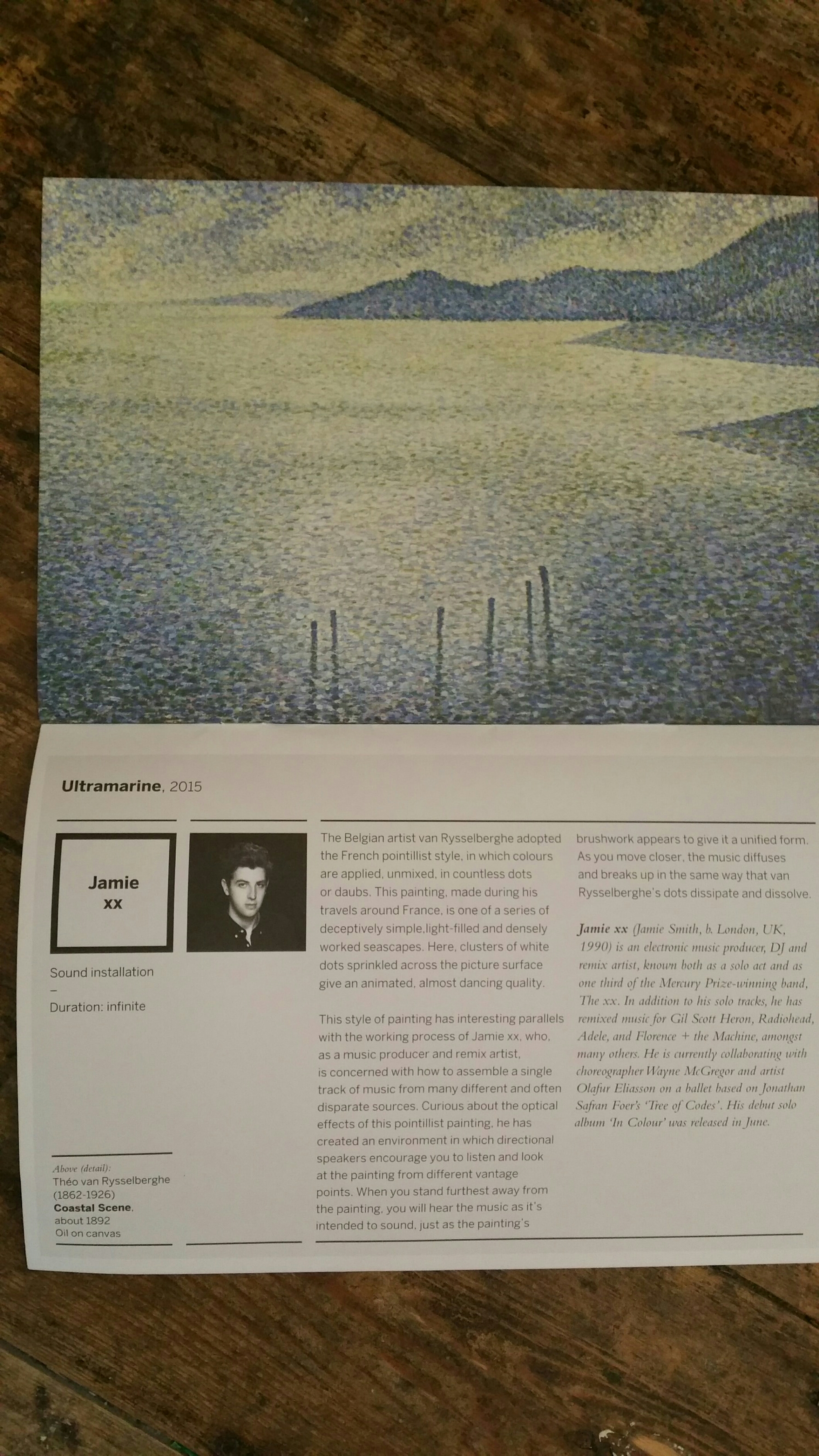 'Coastal Scene' by Theo van Rysselberghe, soundscape, 'Ultramarine', by Jamie xx, at the National Gallery