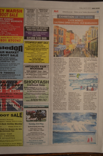 Salterns Open Studio 2015 featured as 'exhibition of the week' in local press.