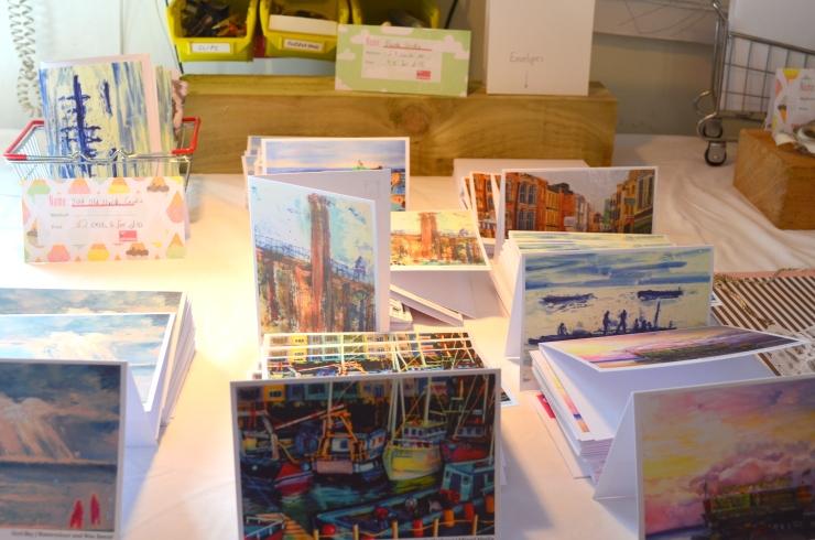 Katie Moritz Artwork Cards for sale at Salterns Open Studio 2015.