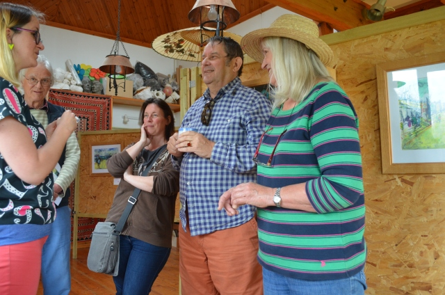 Anna, Robert, Peter and Freya chatting to Katie Moritz at the Salterns Open Studio 2015