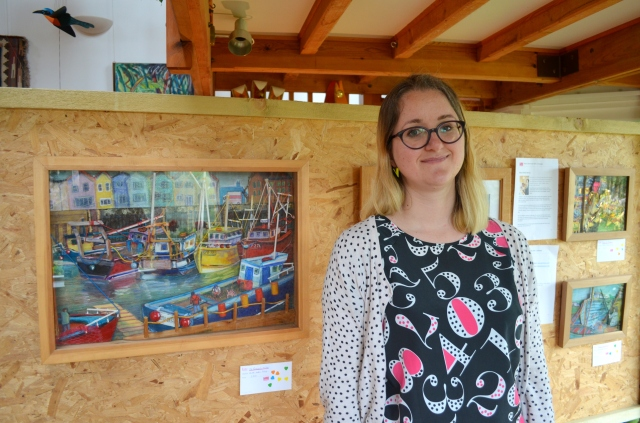 Katie Moritz with her artwork at Salterns Open Studio 2015