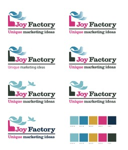 First ideas for the Joy Factory logo in 2013.