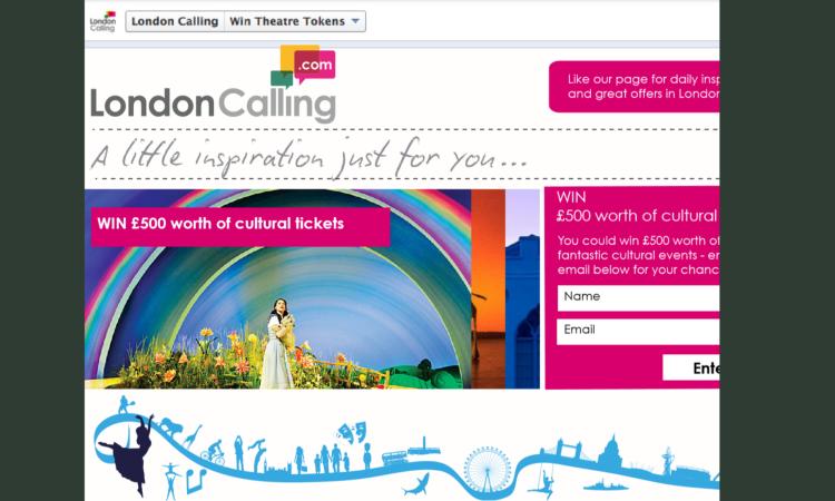 'London Calling' landing page design