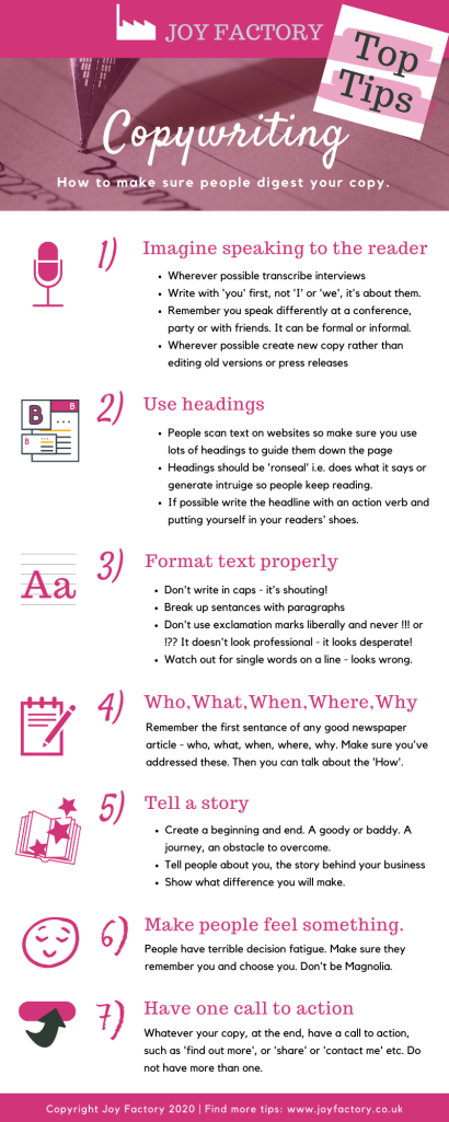 Copywriting Top Tips from the Joy Factory