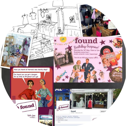 Katie created branding, visual merchanding and a marketing strategy for 'Found' Charity shop in Harrow